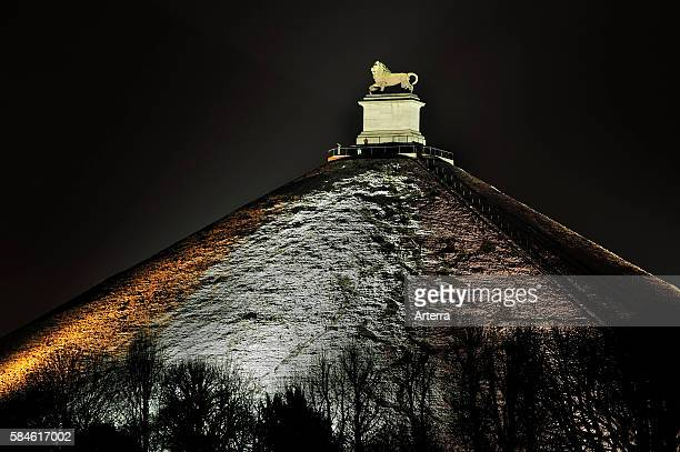 The Lion Hill which is the main memorial monument of the Battle of Waterloo at night in winter Eigenbrakel Belgium