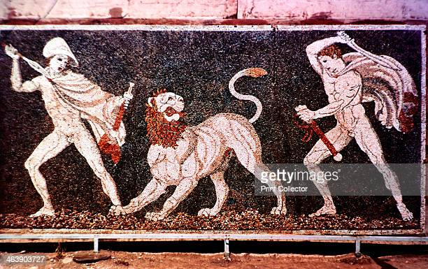 'The Lion Hunt' 4th century BC Alexander the Great and Hephaestion his boyhood friend hunting lion Mosaic from the remains of the Macedonian royal...