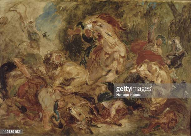 The Lion Hunt ca 1854 Found in the collection of the Musée d'Orsay Paris Artist Delacroix Eugène