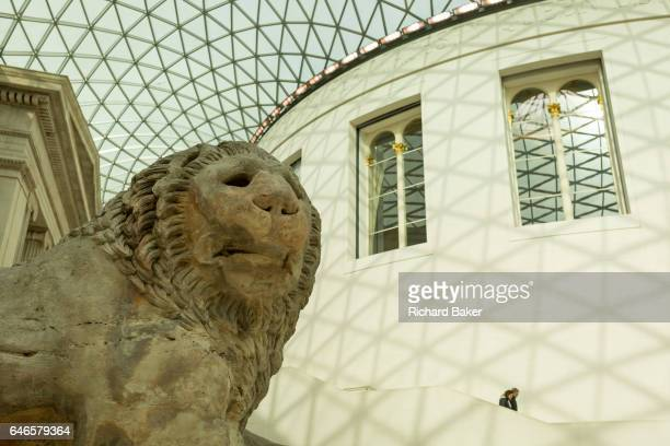 The Lion of Knidos a 7ton marble colossal from the Turkish cemetery tomb now residing in the Great Court of the British Museum on 28th February 2017...