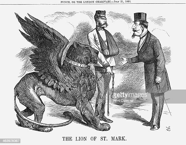 'The Lion of St Mark' 1866 The emperor of Austria seen with his arm in a sling is agreeing to hand over Venetia to Napoleon III and France as the...