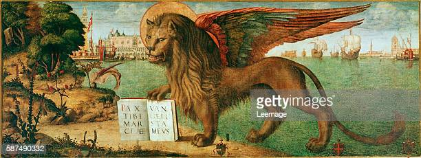 The lion of st Mark by Vittore Carpaccio 1516 oil on canvas 130x368 cms Palazzo Ducale Venice Italy
