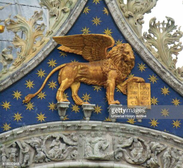 The Lion of Venice adorns the Cathedral Basilica of Saint Mark in Venice Italy It is the most famous of the city's churches and one of the best known...