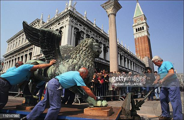 The Lion of Venice was removed to undergo scientific studies and chemical analysis as well as some restoration laboratory in San Gregorio It wil be...