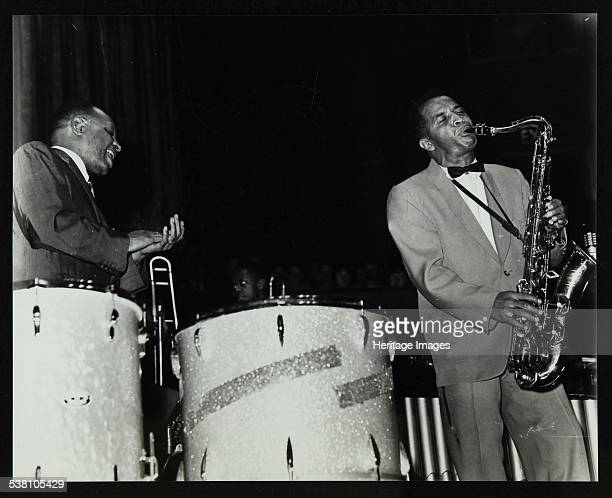 The Lionel Hampton Orchestra in concert at Colston Hall Bristol 1956 Hampton watching tenor saxophonist Eddie Chamblee perform a solo Artist Denis...