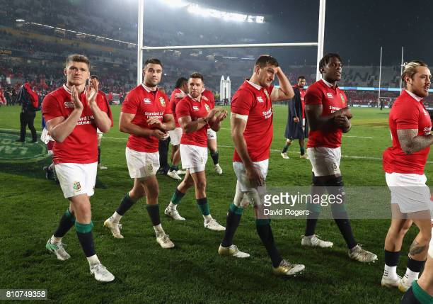 The Lions acknowedge the support of the Lions supporters after they draw the final test 1515 and tie the series during the Test match between the New...