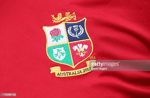 The Lions badge during the British and Irish Lions captain's run at the Anglican Church Grammar School on June 7 2013 in Brisbane Queensland Australia