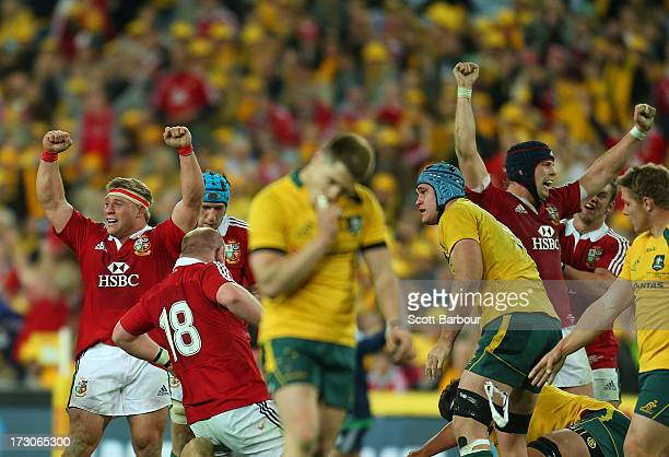 The Lions celebrate at the fulltime whistle after winning the International Test match between the Australian Wallabies and British Irish Lions at...