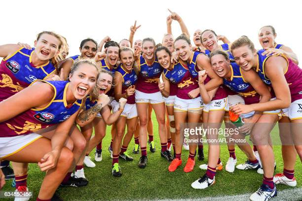 The Lions celebrate the win during the 2017 AFLW Round 02 match between the Fremantle Dockers and the Brisbane Lions at Fremantle Oval on February 12...