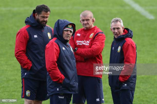 The Lions coach teaming of Andy Farrell, defence coach, Warren Gatland, head coach, Graham Rowntree, scrum coach and Rob Howley backs coach look on...