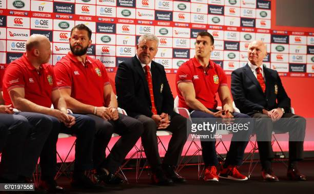 The Lions coaching and management team of Neil Jenkins Andy Farrell Warren Gatland Sam Warburton and John Spencer speak to the media during the...
