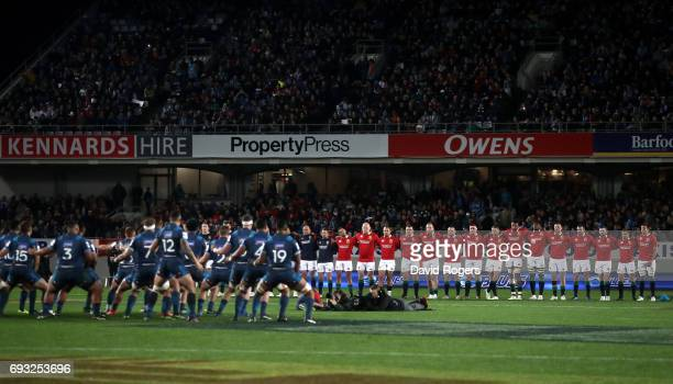 The Lions face up as the Blues perform a prematch haka He Toa Takitini during the 2017 British Irish Lions tour match between the Blues and the...