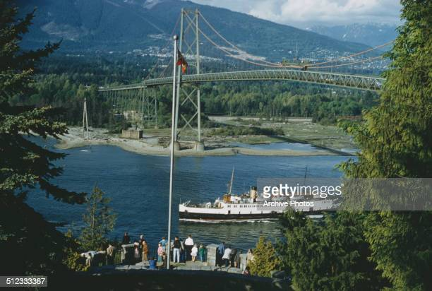The Lions Gate Bridge across Burrard Inlet in Vancouver British Columbia Canada circa 1960