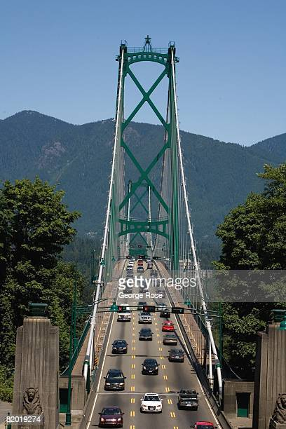 The Lion's Gate bridge connects North and West Vancouver with downtown in this 2008 Vancouver British Columbia Canada urban landscape photo This West...