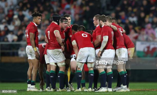The Lions gather during the match between the New Zealand All Blacks and the British Irish Lions at Westpac Stadium on July 1 2017 in Wellington New...