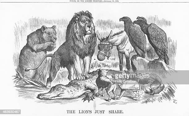 'The Lions Just Share' 1882 The British Lion stands proudly on his Egyptian captive He is watched by Italy a French poodle the Russian Bear Spain...