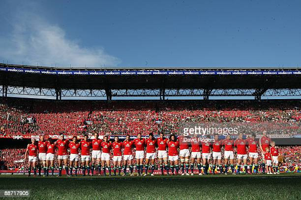 The Lions line up prior to the Second Test match between South Africa and the British and Irish Lions at Loftus Versfeld on June 27 2009 in Pretoria...
