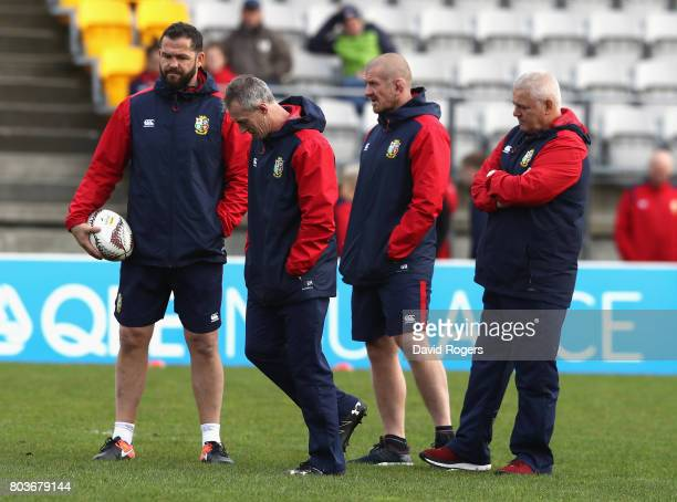 The Lions management group of Andy Farrell, Rob Howley, Graham Rowntree and Warren Gatland, the head coach look on during the British & Irish Lions...