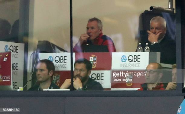 The Lions management of Warren Gatland Rob Howley Andy Farrell and Steve Borthwick look on during the match between the Auckland Blues and the...