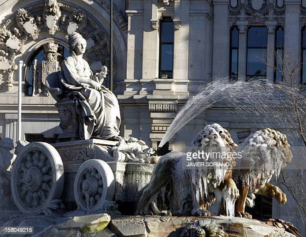 The lions of Goddess Cibeles' fountain in Madrid freeze due to a wave of cold weather at Cibeles Square in Madrid 28 February 2005