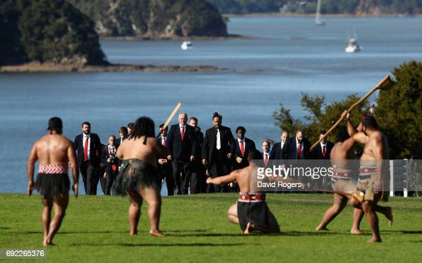 The Lions players and officals line up during the British Irish Lions Maori Welcome at Waitangi Treaty Grounds on June 4 2017 in Waitangi New Zealand