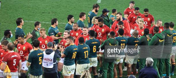 The Lions players leave the pitch after their defeat during the 2nd test match between South Africa Springboks and the British & Irish Lions at Cape...
