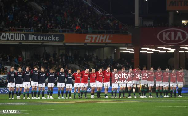 The Lions players observe a minutes silence in remembrance to the the victims of the London Bridge terror attack prior to kickoff during the 2017...