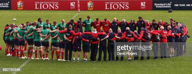 The Lions squad of players and officials line up for a minutes silence in honour of the London Bridge victums during the British Irish Lions training...