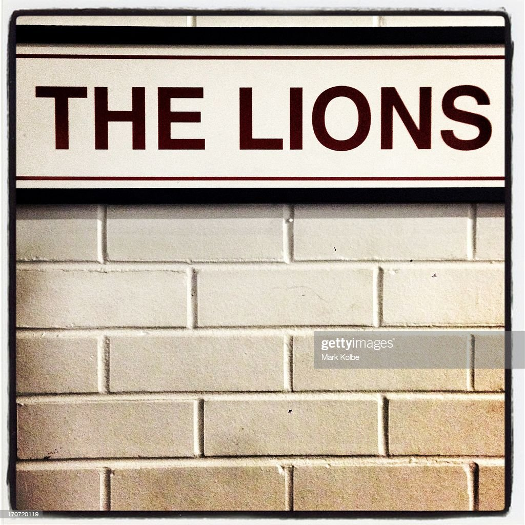 The Lions team sign is seen on the wall outside their dressing room before the match between the NSW Waratahs and the British & Irish Lions at Allianz Stadium on June 15, 2013 in Sydney, Australia.