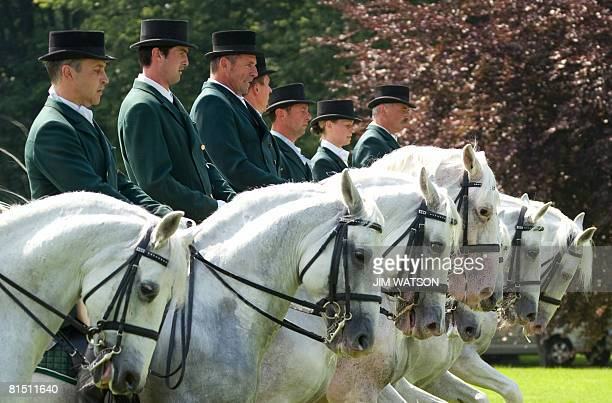 The Lipizzaner Horse group performs an exhibition show for unseen Slovenian Prime Minister Janez Jansa, US President George W. Bush and European...