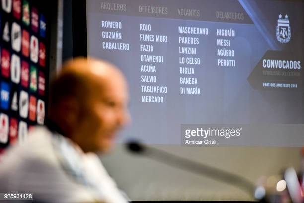 The list of players summoned by Jorge Sampaoli coach of Argentina is displayed on a screen during a press conference at 'Julio Humberto Grondona'...