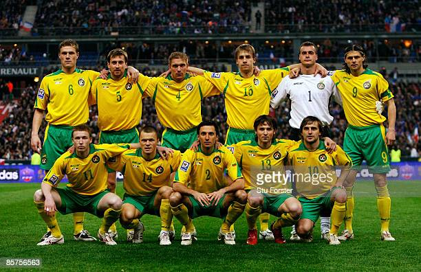 The Lithuania team line up before the group 7 FIFA2010 World Cup Qualifier between France and Lithuania at Saint Denis Stade de France on April 1...
