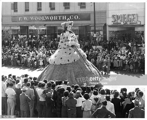The Little BoPeep Float heads up Congress Avenue Austin's main thoroughfare in the annual RoundUp Parade 1955