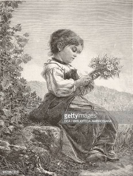 The little flower girl painting by Cecrope Barilli engraving from L'Illustrazione Italiana No 52 December 30 1877