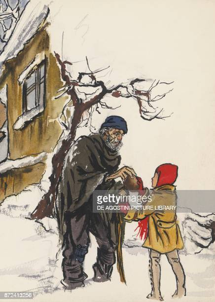 The little girl giving her bread to the old beggar illustration for The star money fairy tale by the Grimm brothers Jacob and Wilhelm drawing
