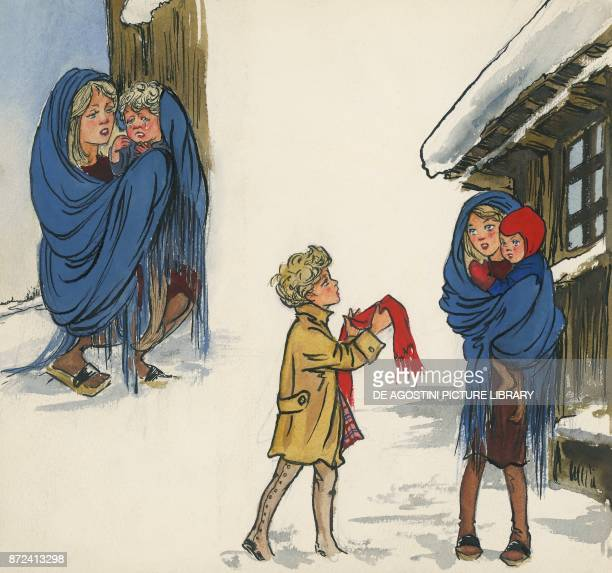The little girl giving her scarf to a young mother illustration for The star money fairy tale by the Grimm brothers Jacob and Wilhelm drawing