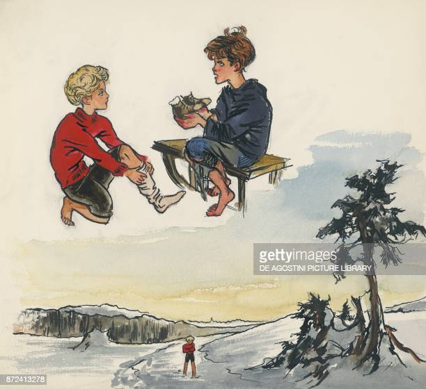 The little girl giving her shoes to a poor boy illustration for The star money fairy tale by the Grimm brothers Jacob and Wilhelm drawing