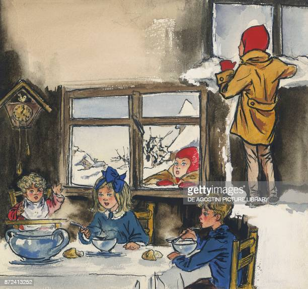 The little girl out in the cold watching through a window some children sitting at the table for dinner illustration for The star money fairy tale by...