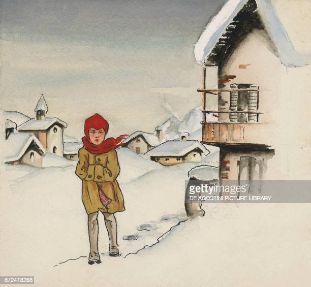 The little girl walking in the snow illustration for The star money fairy tale by the Grimm brothers Jacob and Wilhelm drawing