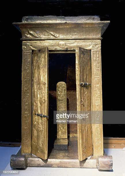 The little golden shrine of Tutankhamun containing the pedestal with the kings nomen and prenomen Egypt Ancient Egyptian 18th dynasty c 1357 1349 BC...