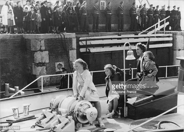 The little princesses Beatrix Irene and Margriet girls of Princess Juliana aboard the royal yacht 'Piet Hein' during the Fleet Review on September 4...