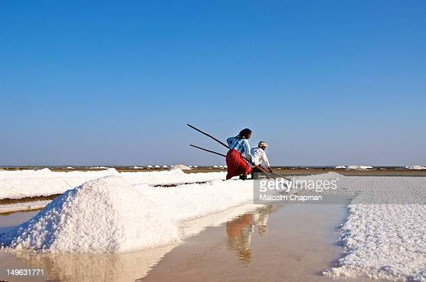 The Little Rann of Kutch Gujarat India is famous for its unique saltpans where salt is harvested by local tribes Taken near Dhrangadhra