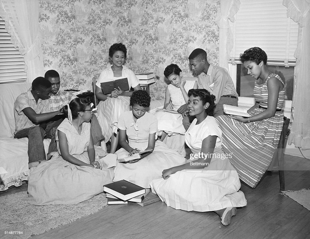 The 'Little Rock Nine' form a study group after being prevented from entering Little Rock's Central High School.