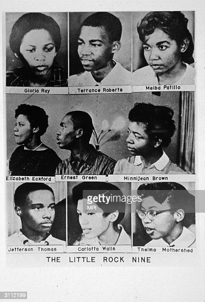 The 'Little Rock Nine' Reading from top left Gloria Ray Terrance Roberts Melba Patillo Elizabeth Eckford Ernest Green Minnijean Brown Jefferson...