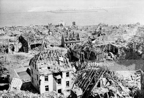 The little village of Heligoland after 6700 tonnes of explosives were used on the island of Heligoland by the Royal Navy creating one of the biggest...
