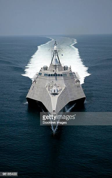 The littoral combat ship Independence underway during builder's trials in the Gulf of Mexico.