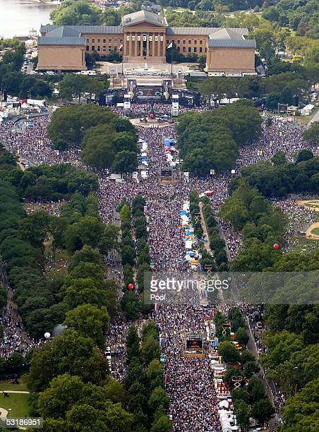 The Live 8 concert outside the Philadelphia Museum of Art is seen in this aerial photo July 2 2005 in Philadelphia Pennsylvania The free concert is...