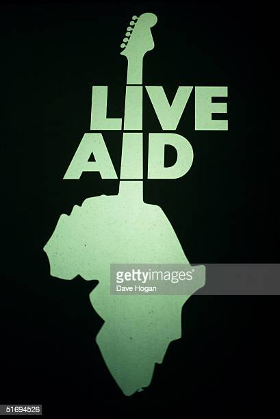 The Live Aid logo is displayed at the premiere screening of the new fourdisc DVD featuring 10 hours of footage from the historic charity concert Live...