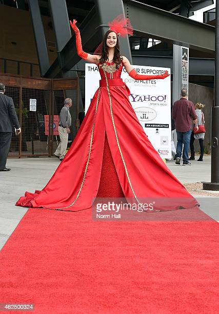 The live red carpet model poses for a photo prior to the Gaming to Give event at Salt River Fields at Talking Stick on January 29 2015 in Scottsdale...