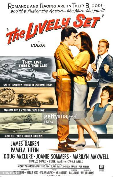 The Lively Set, poster, kissing center, from left: James Darren, Pamela Tiffin; on right, from top to bottom: Doug McClure, Joanie Sommers, 1964.
